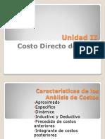 2. Unidad II Costos CostoDirecto