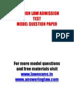 Clat 2011 Model Question Paper, CLAT MOCK TEST. www.lawexams.in