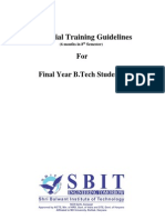Industrial Training (6 Months) - Guidelines for Final Year B Tech Students