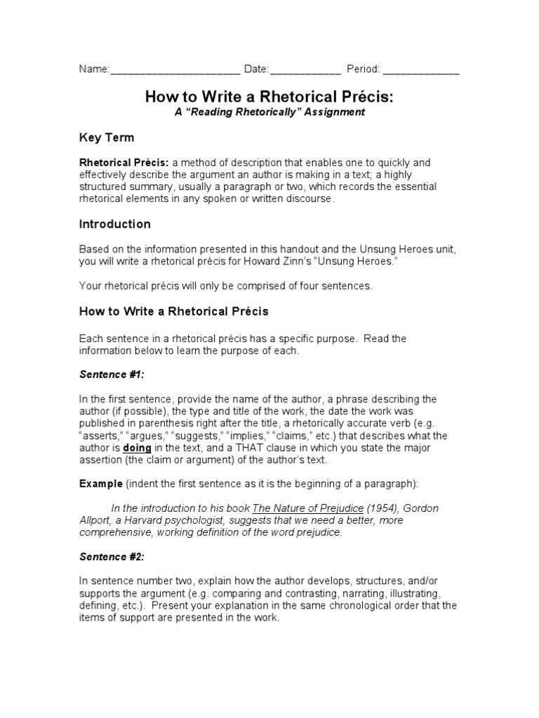 How to Write a Precis | Prejudices | Sentence (Linguistics)