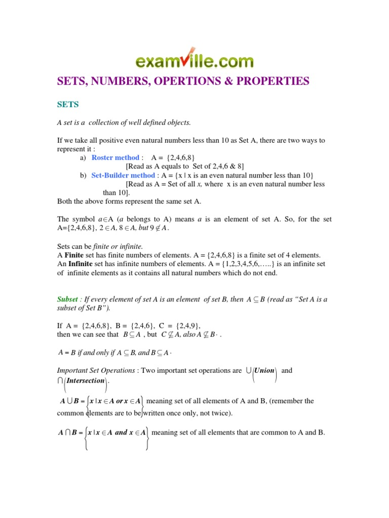 Sets Numbers Opertions Properties Set Mathematics Numbers