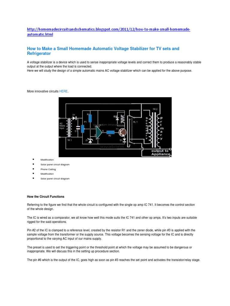 How To Make A Small Homemade Automatic Voltage Stabilizer For Tv Circuit Diagram Sets And Refrigerator Relay Amplifier