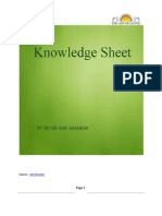 Knowledge Sheets by  - Sri Sri Ravi Shankar