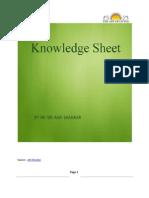 Knowledge Sheets by  - Sri Sri Ravi Shankar