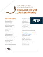 2013 James Beard Foundation Semifinalists