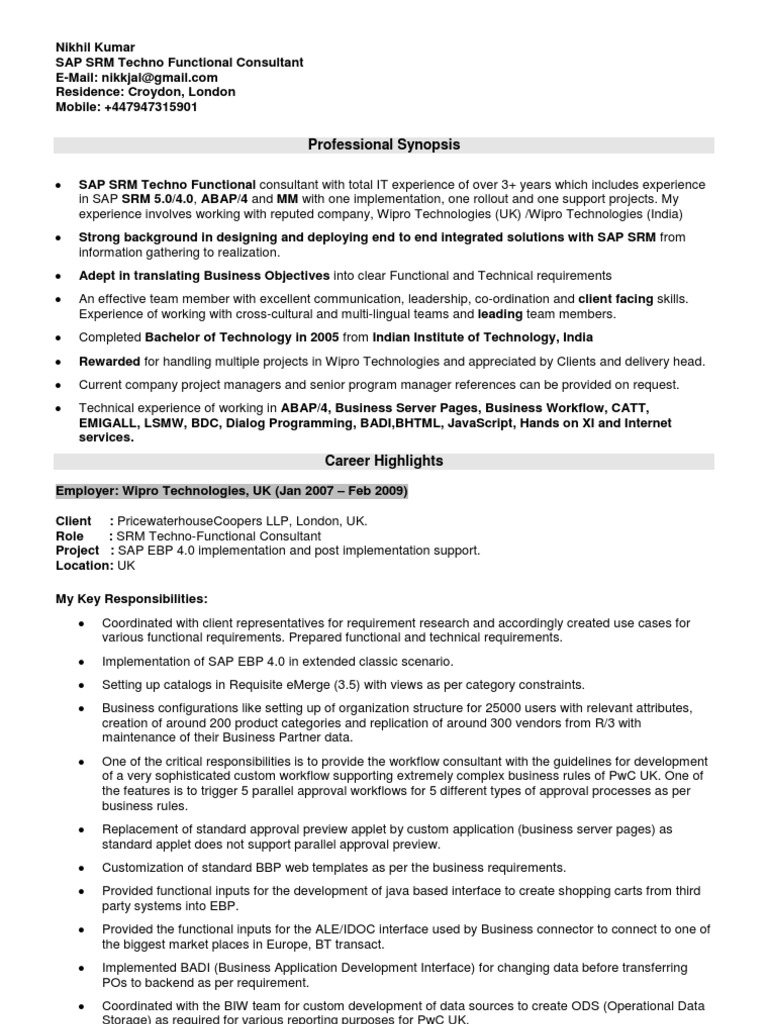 resume of nikhil kumar sap srm techno functional sap se