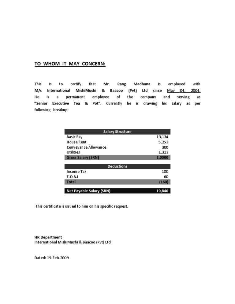 Salary Certificate Format 2 – Salary Certificate Format Download