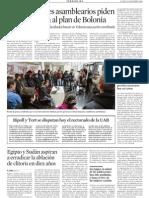 Los estudiantes asamblearios piden unamoratoria al plan de Bolonia