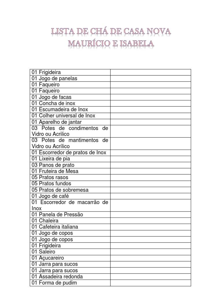 Lista De Ch De Cozinha Completa Awesome Pea J A Lista Completa E