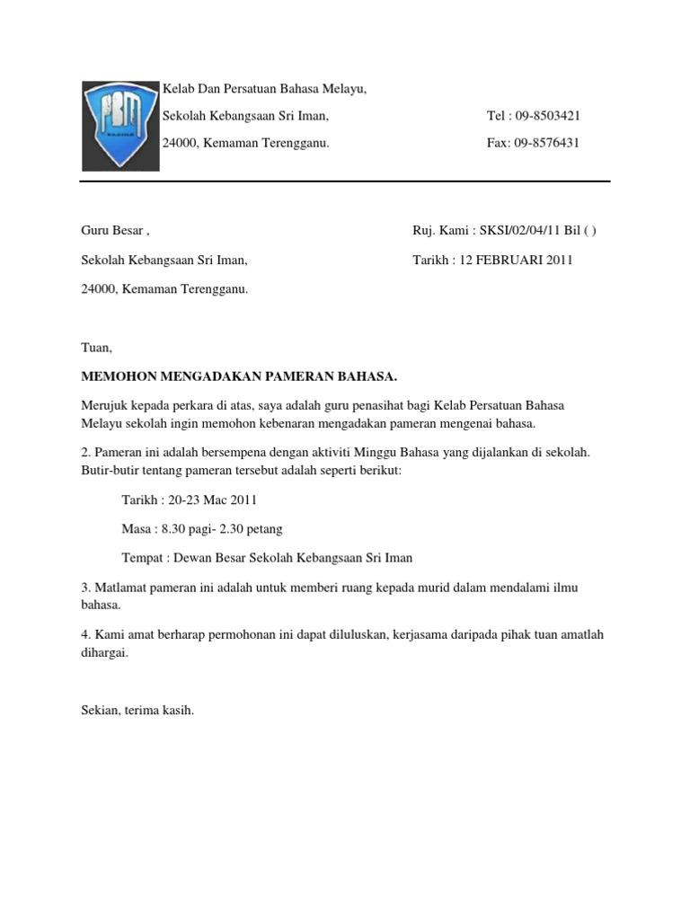 Contoh surat rasmi permohonan aktiviti kelab dan persatuan bahasa melayu spiritdancerdesigns Gallery