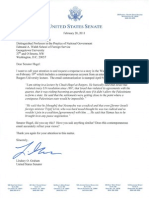 20 Feb 2013 Letter to Hagel Re Rutgers Lecture