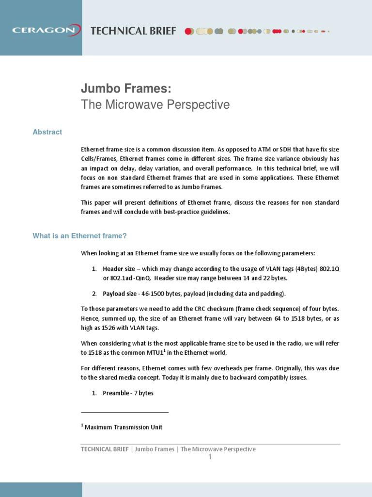 Ceragon - Jumbo Frames - Technical Brief | Ethernet | Computer Network