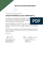 5 Certificacion de Los Estados Financieros 2013 Plaza Campestre