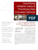 Quantifying Initiative Value & Prioritizing New Concepts Seminar
