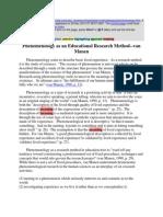 Van Manen Hemeunistic Approach study