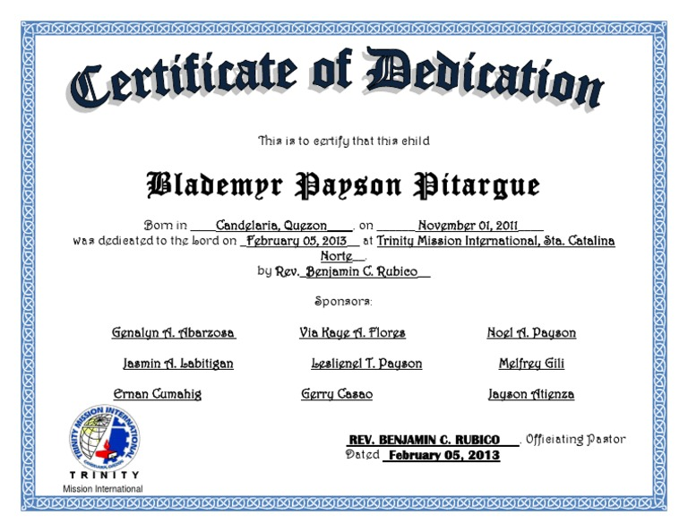 Church Certificate of Dedication Template – Baby Dedication Certificates Templates