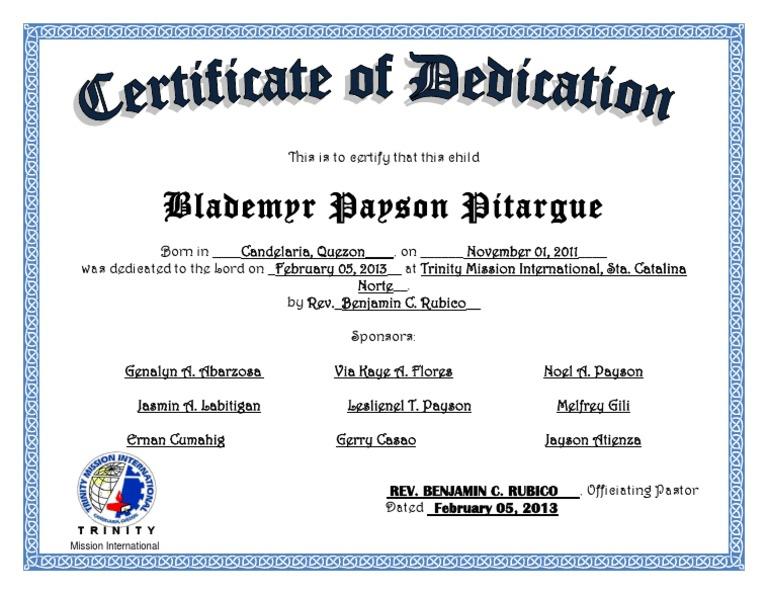 dedication certificate template