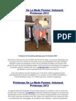 Printemps de La Mode Femme Vetement Printemps 2013