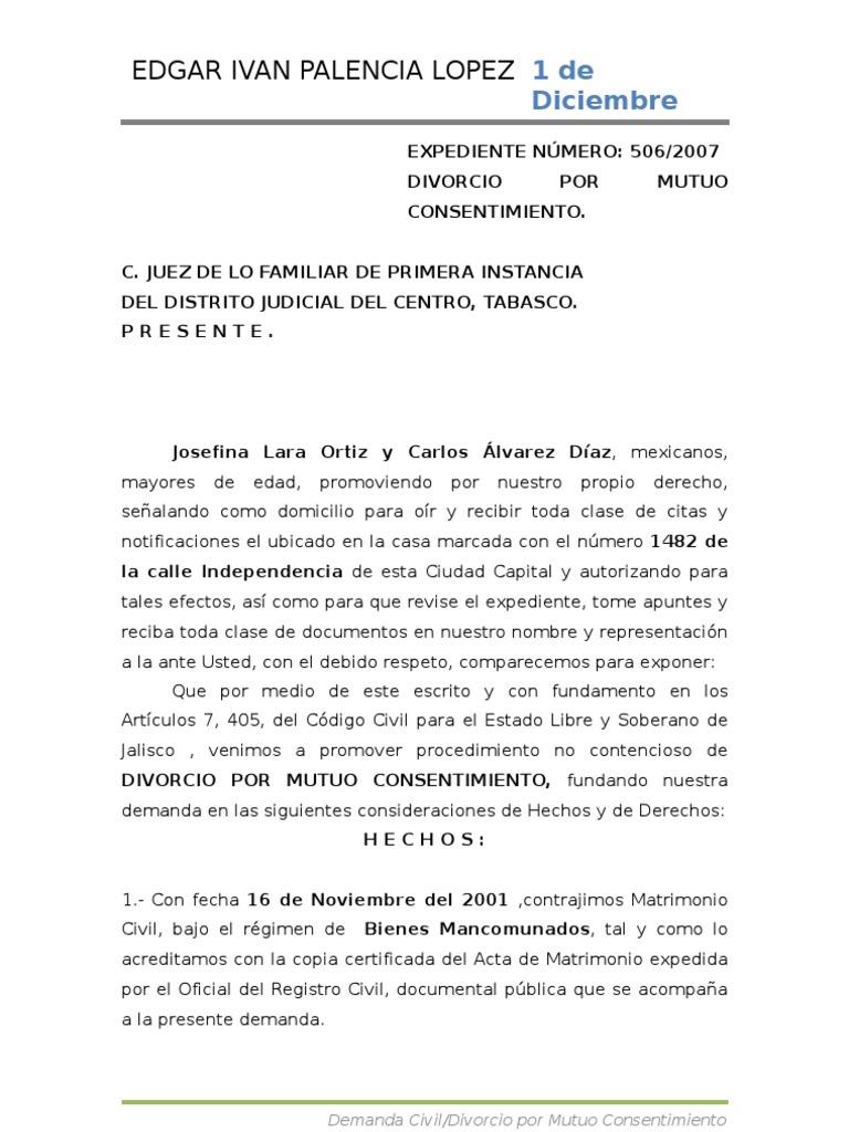 Demanda civil divorcio con jurisprudencia for Acta familiar