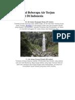 Mengenal Beberapa Air Terjun Tertinggi Di Indonesia