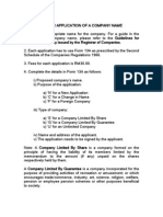 Guideline for Application for a Company Name