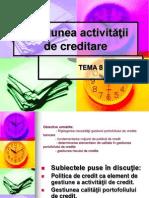 Gestiunea activităţii de creditare