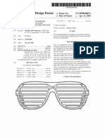 Sunglasses without lenses but having six horizontal slats crossing the field of vision of each eye (US patent D590868)