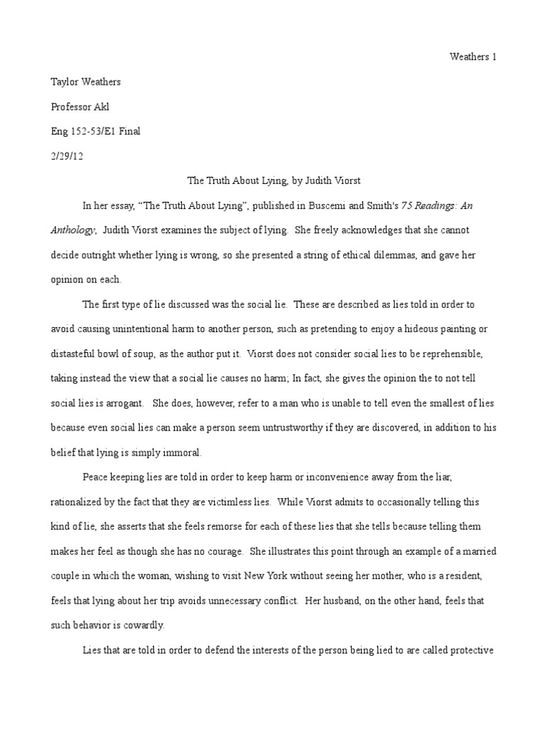 telling the truth essay writing summary essay lie