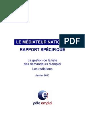 Médiateur Pôle Emploi Rapport Radiations Chômage