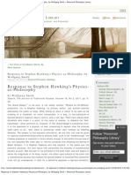 Response to Stephen Hawking's Physics-as-Philosophy, by Wolfgang Smith