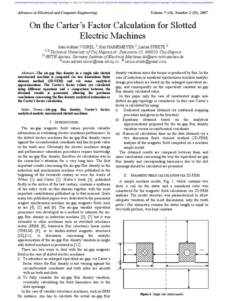 Factores De Carter Magnetic Field Electromagnetic Induction Constant Airgap Motor Equivalent Circuit