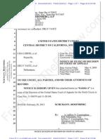 C.D CA ECF 601 - 2013-02-20 - Liberi v Taitz - Notice of Filing of Decision of Court of Appeals