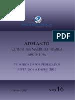 Adelanto Informe de Coyuntura Macroeconómica N° 16. Febrero 2013