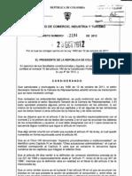 Decreto 2184 Del 26 de Octubre de 2012