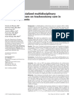 Impact of a Specialized Multidisciplinary Tracheostomy Team on Tracheostomy Care in Critically Ill Patients - Canadian Journal of Surgery Junio 2011