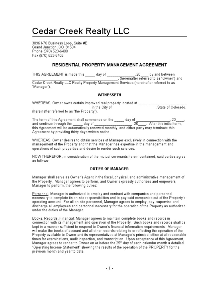 Residential Property Management Agreement | Lease | Indemnity