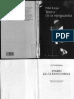 BÜRGER, PETER - Teoría de la Vanguardia