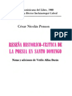 César Nicolás Penson - Reseña Histórico-Crítica de la Poesía en Santo Domingo