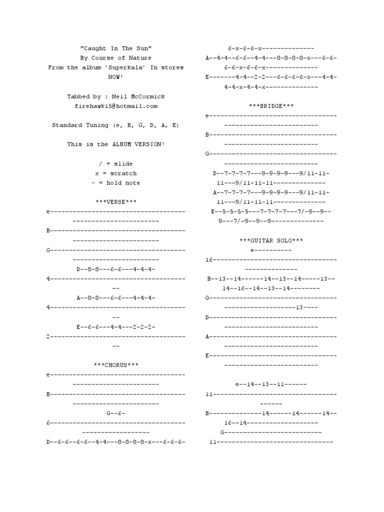 Guitar Tabs 1 Song Structure Music Theory