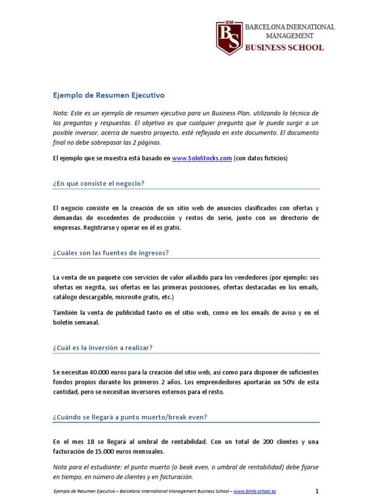 Magnífico Plantilla De Ejemplo De Resumen Ejecutivo Componente ...