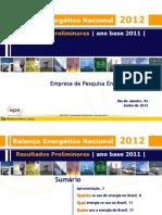 balanço energético nacional 2012