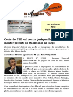 Corte do TSE vai contra jurisprudência e resolve manter prefeito de Queimadas no cargo