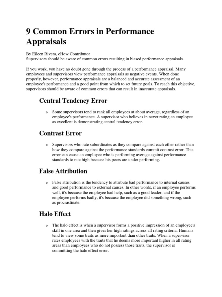 9 Common Errors in Performance Appraisals | Performance Appraisal ...