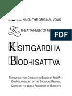 Sutra on the Original Vows the Attainment of Merits of Ksitigarbha Bodhisatta