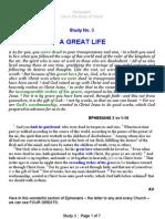Ephesians study three - a great life