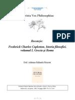 [Vox Philosophiae][recenzie] Adriana Mihaela Macsut - Frederick Charles Copleston, Istoria filosofiei, volumul I, Grecia şi Roma