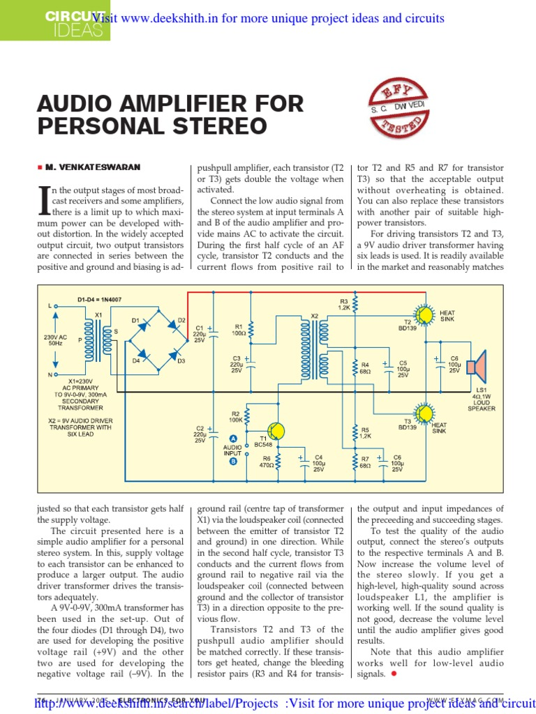 Audio Amplifier For Personal Stereo Transistor Electrical Circuit Project Ideas