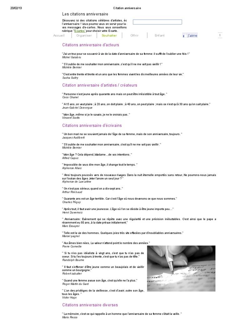 Citation Anniversaire Litterature Francaise Ecrivains Francais