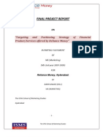 A PROJECT REPORT ON TARGETING AND POSITIONING STRATEGY OF RELIANCE MONEY