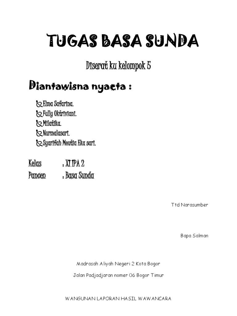 Contoh Laporan Wawancara Bahasa Sunda Seputar Laporan